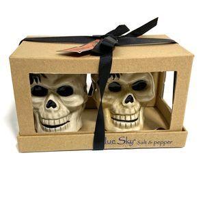 Skull Salt Pepper Shakers Blue Sky Halloween NEW